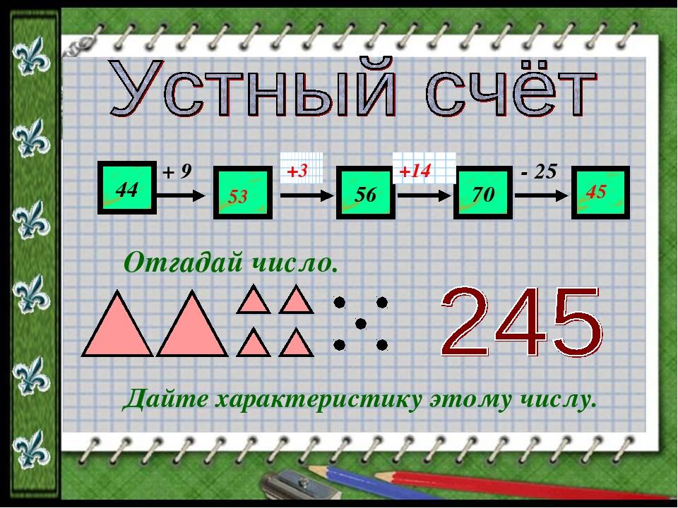 44 ? 56 70 ? + 9 ? ? - 25 53 +3 +14 45 Отгадай число. Дайте характеристику эт...