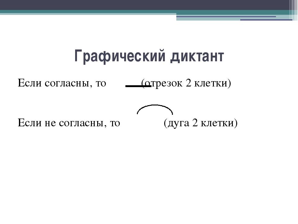 Графический диктант Если согласны, то (отрезок 2 клетки) Если не согласны, то...