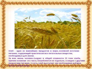 Хлеб - один из важнейших продуктов в мире, основной источник питания, содержа