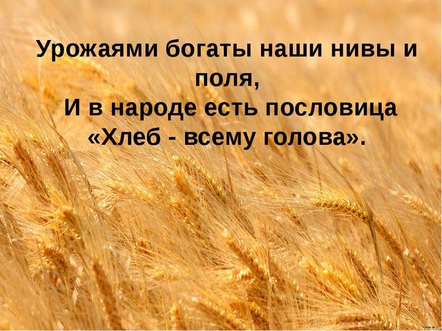 Урожаями богаты наши нивы и поля, И в народе есть пословица «Хлеб - всему го...