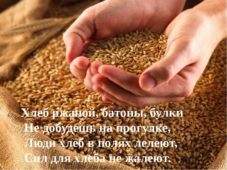 Хлеб ржаной, батоны, булки Не добудешь на прогулке, Люди хлеб в полях лелеют,...