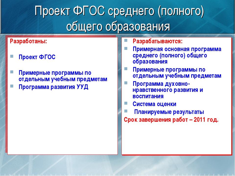 Проект ФГОС среднего (полного) общего образования Разработаны: Проект ФГОС Пр...