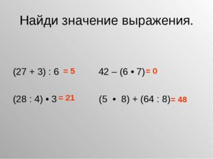 Найди значение выражения. (27 + 3) : 6 42 – (6 • 7) (28 : 4) • 3 (5 • 8) + (6