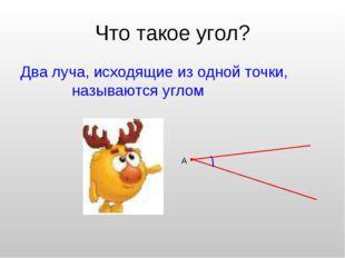 Что такое угол? Два луча, исходящие из одной точки, называются углом А