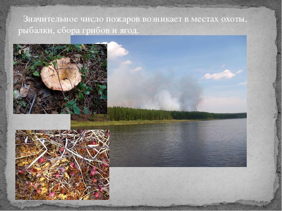 Значительное число пожаров возникает в местах охоты, рыбалки, сбора грибов и...
