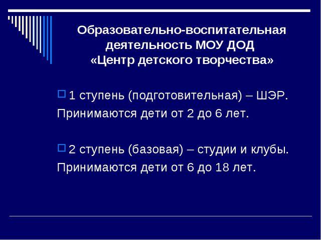 Образовательно-воспитательная деятельность МОУ ДОД «Центр детского творчества...