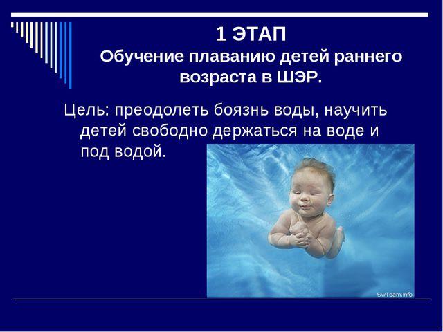 1 ЭТАП Обучение плаванию детей раннего возраста в ШЭР. Цель: преодолеть боязн...