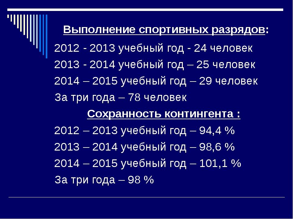 Выполнение спортивных разрядов: 2012 - 2013 учебный год - 24 человек 2013 -...
