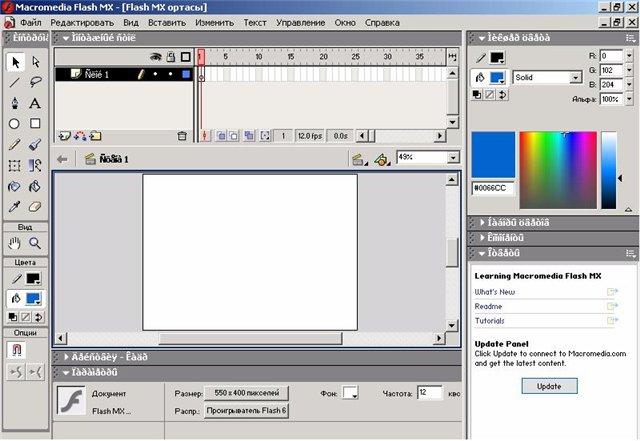 Macromedia Flash технологиясына кіріспе