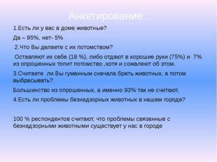 Анкетирование : 1.Есть ли у вас в доме животные? Да – 95%, нет- 5% 2.Что Вы д