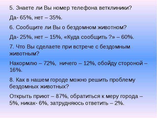 5. Знаете ли Вы номер телефона ветклиники? Да- 65%, нет – 35%. 6. Сообщите ли...