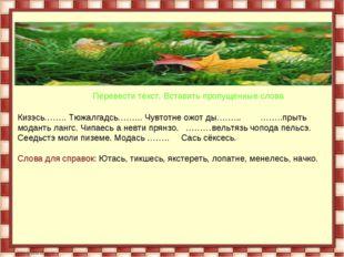 Перевести текст. Вставить пропущенные слова Кизэсь…….. Тюжалгадсь……... Чувто