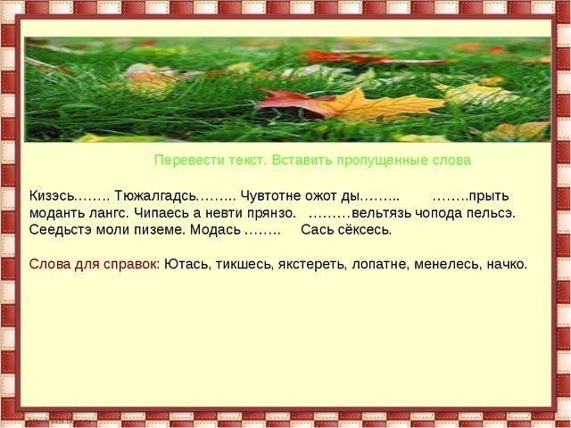 Перевести текст. Вставить пропущенные слова Кизэсь…….. Тюжалгадсь……... Чувто...