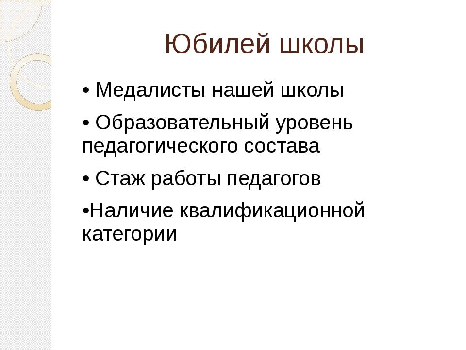 Юбилей школы • Медалисты нашей школы • Образовательный уровень педагогическог...