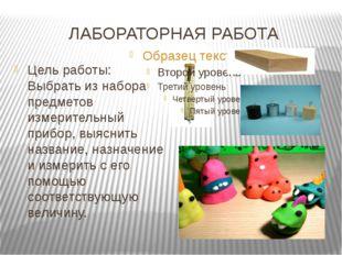 ЛАБОРАТОРНАЯ РАБОТА Цель работы: Выбрать из набора предметов измерительный пр