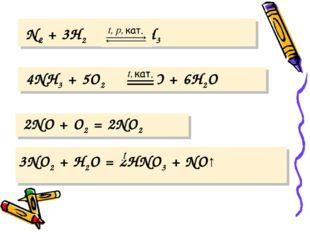 N2 + 3H2 2NH3 4NH3 + 5O2 4NO + 6H2O 2NO + O2 = 2NO2 3NO2 + H2O = 2HNO3 + NO↑