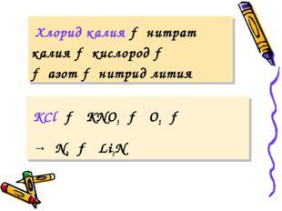 Хлорид калия → нитрат калия → кислород → → азот → нитрид лития KCl → KNO3 →