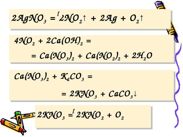 2AgNO3 = 2NO2↑ + 2Ag + O2↑ 4NO2 + 2Ca(OH)2 = = Ca(NO3)2 + Ca(NO2)2 + 2H2O Ca...