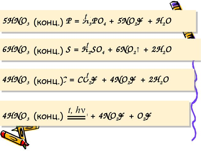 5HNO3 + P = H3PO4 + 5NO2↑ + H2O  6HNO3 + S = H2SO4 + 6NO2↑ + 2H2O  4HNO3...