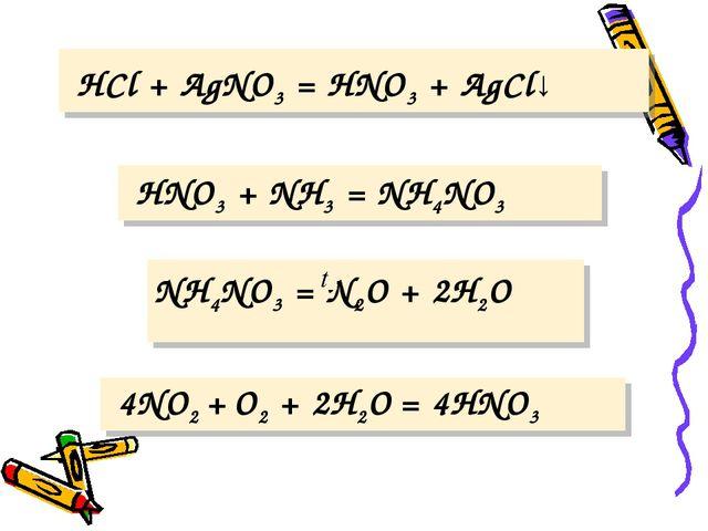 HCl + AgNO3 = HNO3 + AgCl↓ HNO3 + NH3 = NH4NO3 NH4NO3 = N2O + 2H2O 4NO2 + O2...