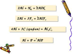 2Al + N2 = 2AlN 2Al + 3F2 = 2AlF3 4Al + 3C (графит) = Al4C3 Al + P = AlP t t