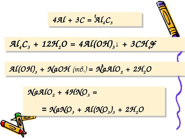4Al + 3C = Al4C3 Al4C3 + 12H2O = 4Al(OH)3↓ + 3CH4↑ Al(OH)3 + NaOH (тв.) = Na...