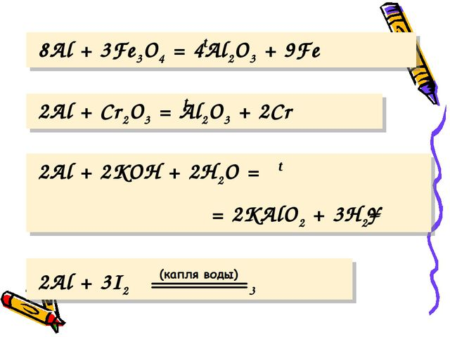 8Al + 3Fe3O4 = 4Al2O3 + 9Fe 2Al + 3I2 2AlI3 2Al + Cr2O3 = Al2O3 + 2Cr 2Al +...