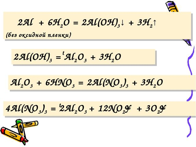 2Al + 6H2O = 2Al(OH)3↓ + 3H2↑ (без оксидной пленки) 2Al(OH)3 = Al2O3 + 3H2O...