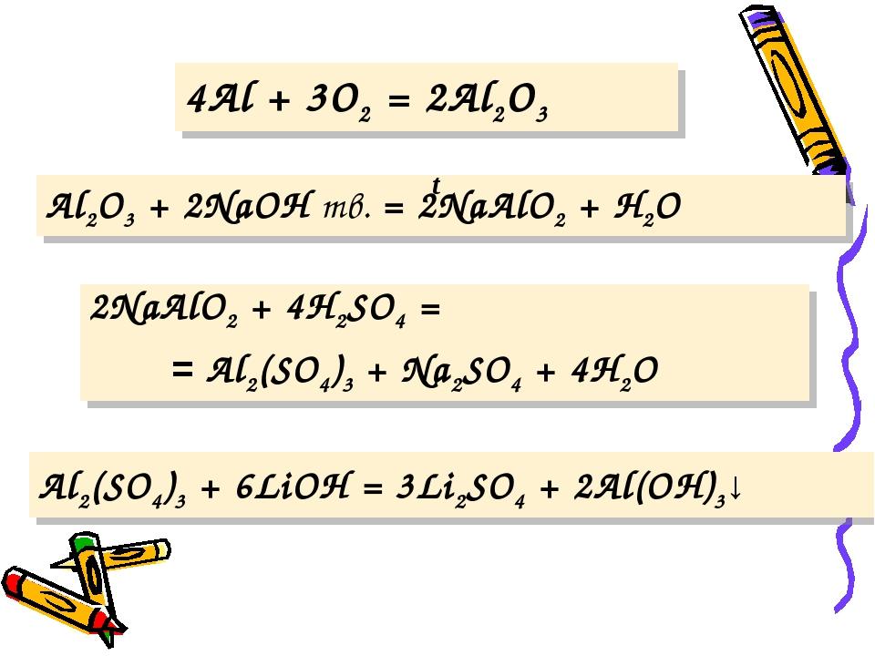 4Al + 3O2 = 2Al2O3 Al2O3 + 2NaOH тв. = 2NaAlO2 + H2O Al2(SO4)3 + 6LiOH = 3Li2...