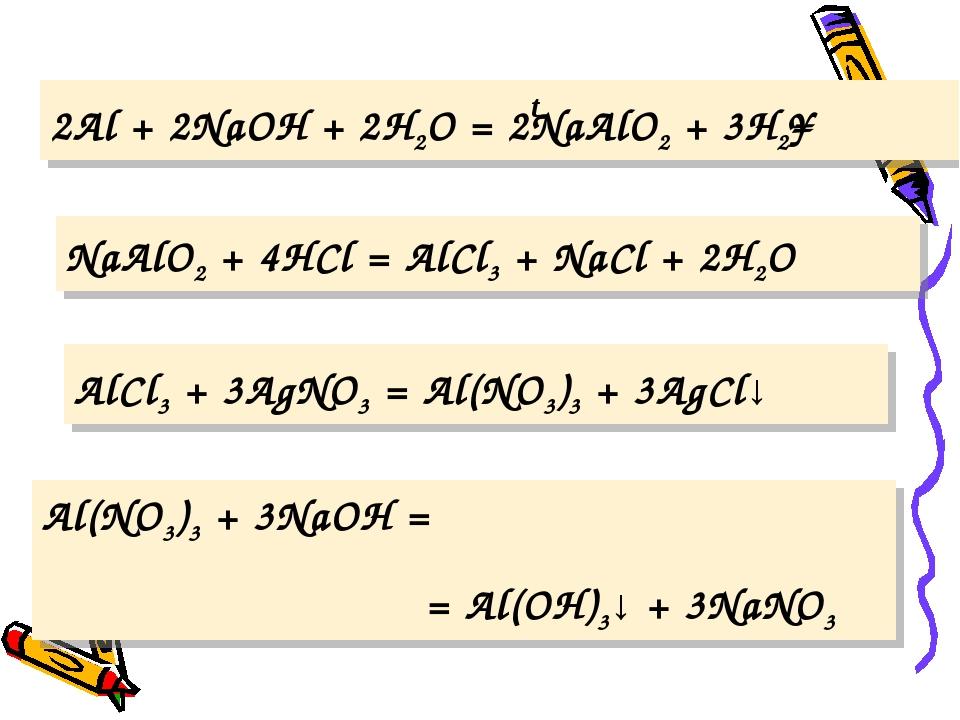 2Al + 2NaOH + 2H2O = 2NaAlO2 + 3H2↑ NaAlO2 + 4HCl = AlCl3 + NaCl + 2H2O AlCl3...