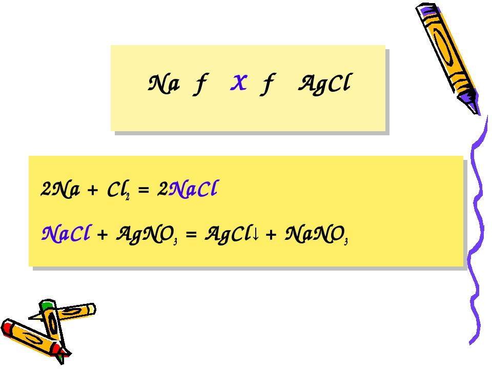 Na → X → AgCl 2Na + Cl2 = 2NaCl NaCl + AgNO3 = AgCl↓ + NaNO3