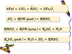 K2SO3 (разб.) + H2O + SO2 = KHSO3 t 4FeS + 11O2 = 8SO2↑ + 2Fe2O3 SO2 + KOH (