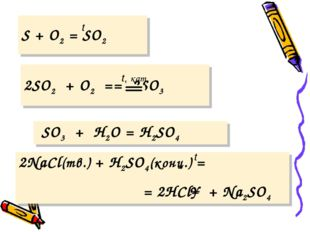 t S + O2 = SO2  t, кат. 2SO2 + O2 == 2SO3 SO3 + H2O = H2SO4  t 2NaCl(тв.)