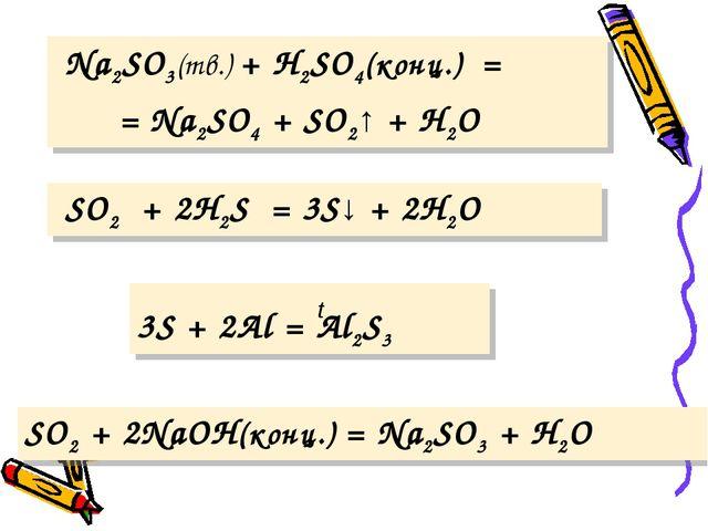 Na2SO3(тв.) + Н2SO4(конц.) = = Na2SO4 + SO2↑ + Н2O SO2 + 2H2S = 3S↓ + 2H2O...