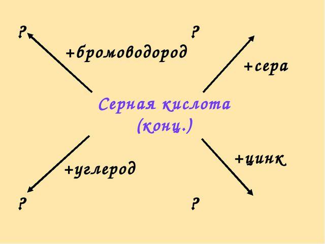 ? ? ? ? +бромоводород +сера +углерод +цинк Серная кислота (конц.)