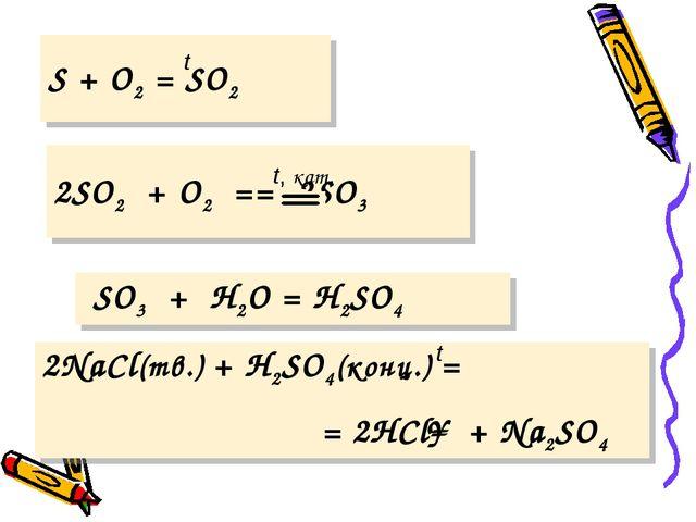 t S + O2 = SO2  t, кат. 2SO2 + O2 == 2SO3 SO3 + H2O = H2SO4  t 2NaCl(тв.)...