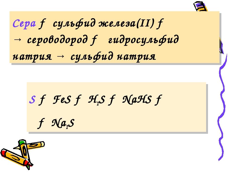 Сера → сульфид железа(II) → → сероводород → гидросульфид натрия → сульфид нат...