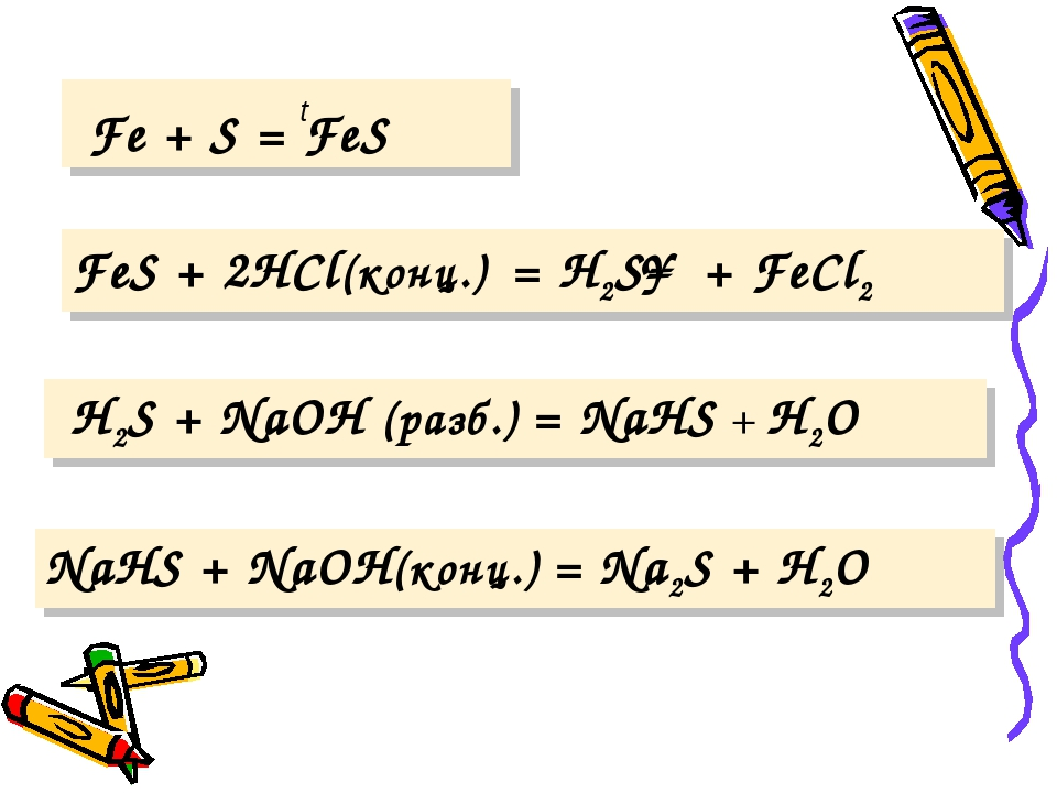 t Fe + S = FeS FeS + 2HCl(конц.) = H2S↑ + FeCl2 H2S + NaOH (разб.) = NaHS +...