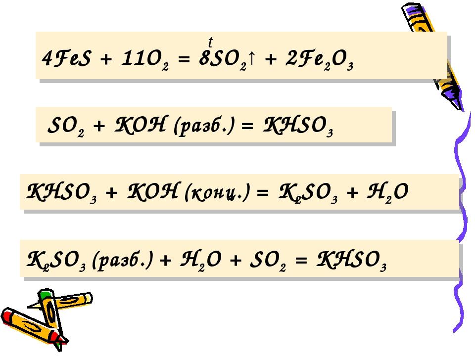 K2SO3 (разб.) + H2O + SO2 = KHSO3 t 4FeS + 11O2 = 8SO2↑ + 2Fe2O3 SO2 + KOH (...