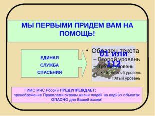 МЫ ПЕРВЫМИ ПРИДЕМ ВАМ НА ПОМОЩЬ! ЕДИНАЯ СЛУЖБА СПАСЕНИЯ ГИМС МЧС России ПРЕД