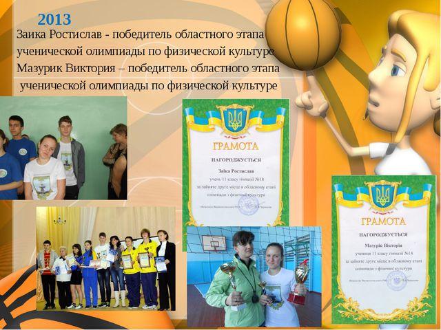 2013 Заика Ростислав - победитель областного этапа ученической олимпиады по ф...
