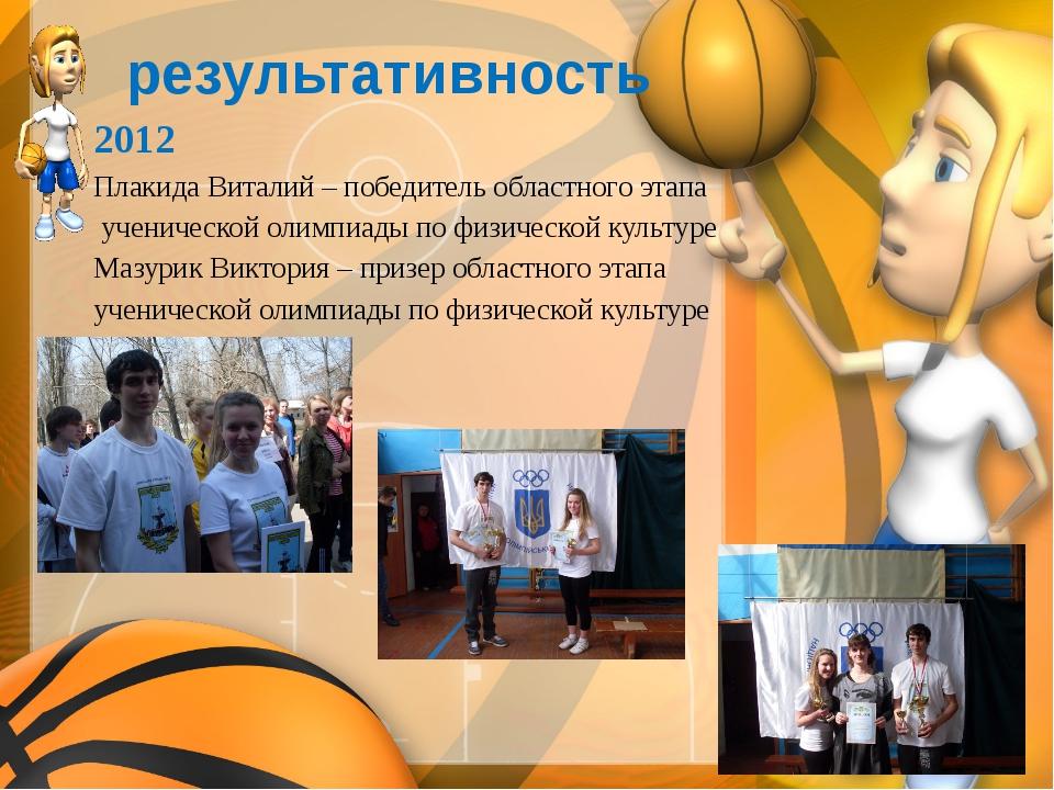 результативность 2012 Плакида Виталий – победитель областного этапа ученичес...