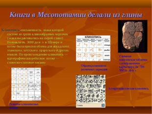 Книги в Месопотамии делали из глины Клинопись -письменность, знаки которой со