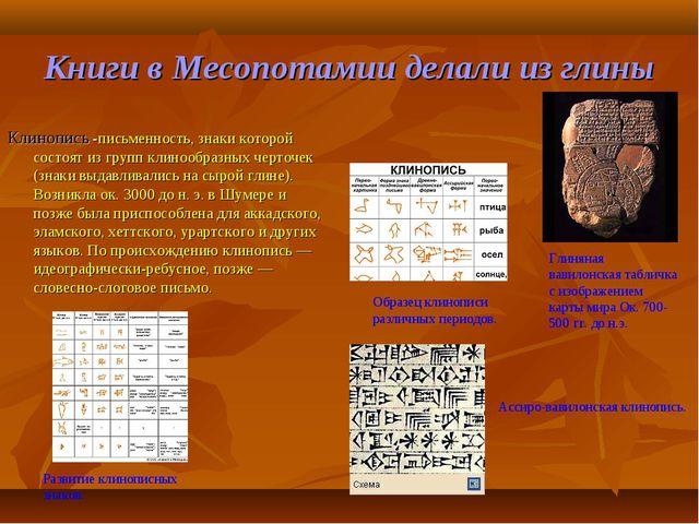 Книги в Месопотамии делали из глины Клинопись -письменность, знаки которой со...