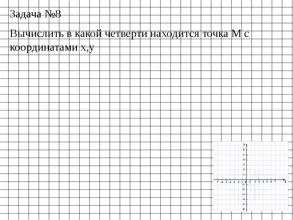 Задача №8 Вычислить в какой четверти находится точка М с координатами x,y