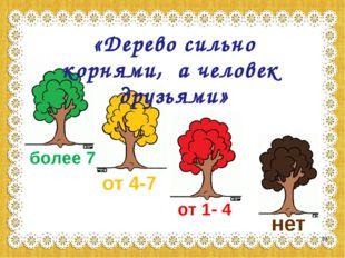 более 7 от 4-7 от 1- 4 нет «Дерево сильно корнями, а человек друзьями» *