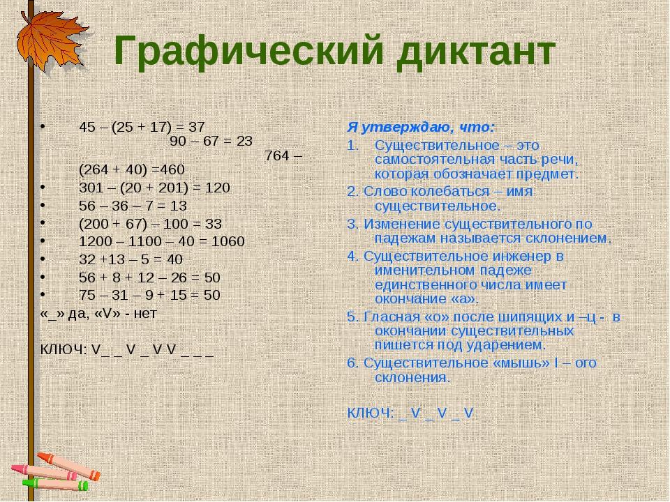 Графический диктант 45 – (25 + 17) = 37 90 – 67 = 23 764 – (264 + 40) =460 30...