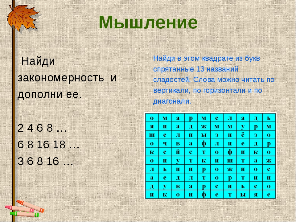 Мышление Найди закономерность и дополни ее. 2 4 6 8 … 6 8 16 18 … 3 6 8 16 …...