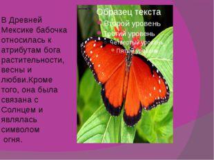 В Древней Мексике бабочка относилась к атрибутам бога растительности, весны и