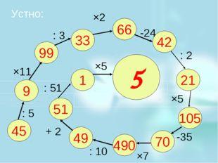 Устно: 45 9 99 33 66 42 21 105 70 490 49 51 1 5 : 5 ×11 : 3 ×2 -24 : 2 ×5 -35